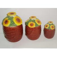 Best Dolomite Ceramic Kitchen Canisters Hand Painted Basket Sunflower Covered Canister 3 Set wholesale