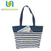 Best 600D City Name Souvenir Personalized Beach Tote , Blue And White Striped Beach Bag wholesale