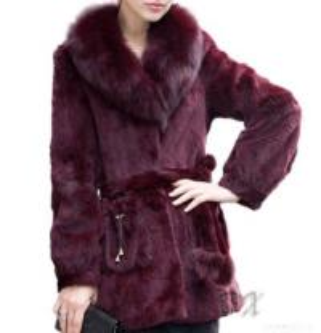 China Rabbit Fur Coat, Fox Fur Collar on sale