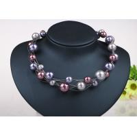 Best Twisted Illusion Silver Chian Costume Pearl Necklace , Floating Pearl Necklace wholesale