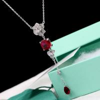 China 925 sterling silver Cz necklace, tassel chains ruby pendant necklace on sale