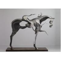 Best 170cm Life Size Abstract Stainless Steel Horse Sculpture Brushed Finishing wholesale