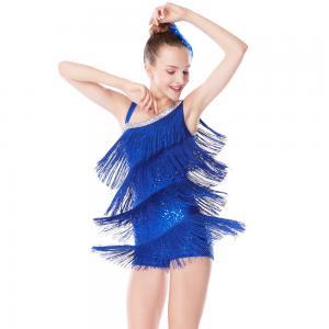 Cheap Women Leotard Latin Dance Costumes Diagonal - Neck Royal Blue Tassel Sequins for sale