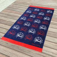 Buy cheap Crab Fitted Colorful Printed Beach Towels , Microfiber Male Beach Towels product