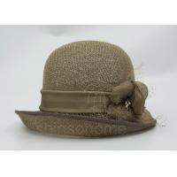 Best Fashionable Brown Mesh Bucket Beret Hat For Lady , Floriation Logo With Ribbon wholesale