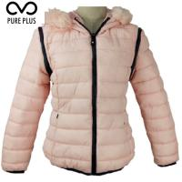 China Windproof Ladies Light Padded Jacket , Casual Womens Padded Coat With Fur Hood on sale