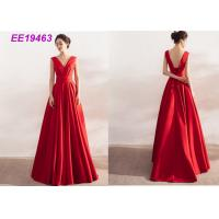 Best Ladies Formal Long Red Prom Dresses , Satin Backless Evening Gowns Sleeveless wholesale