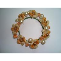 China Graceful Silk Fabric Artificial Decorative  Flowers Garlands with Yellow Pearl   on sale