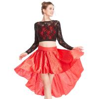 Best MiDee 2 Pieces Lace long Sleeves Sequined Dance Costume Latin Lyrical Dress wholesale