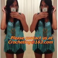 Best Crochet tops, deep v neck halter top/spaghetti strap tank tops/lace colete croche/wh wholesale