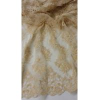 Best French Stretch Beige Pearl Beaded Wedding Lace Fabric With Scalloped Edge wholesale