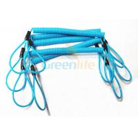 Best Blue Coil Tool Lanyard Elasticated Spring Tool Tether With Double Loop Ends wholesale