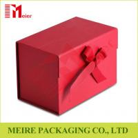 China Ribbon Bow Tie Magnetic Closure Cardboard Gift Packing box with red Panton printing on sale