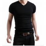 Best 100% cotton V-neck T-shirt wholesale
