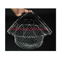 China Metal Wire Mesh Tray Foldable Strainer Kitchen Tool Fold Flat Easy To Store on sale