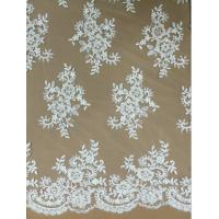 China Apparel Accessories Mesh Based  Embroidery with Bead  Lace Fabric  Ivory Color on sale