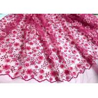 Best Colored Handmade 3D Flower Lace Fabric , Scalloped Embroidered Mesh Lace Fabric wholesale