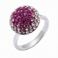 Best 925 Sterling Silver Ring, Decorated with Crystal Stones, OEM and ODM Orders Welcomed wholesale