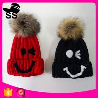 Best 109g 20*24cm New brand 2017 acrylic knitted beanie with pom pom ball winter knitting hats wholesale