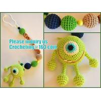 Best personalized pacifier clip,natural wooden beads dummy clip,pacifier holder,soother clip with amigurumi MaikVazovski wholesale
