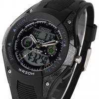 China Lcd Dual Time Black Sport Wrist Watches For Men , Analog Stopwatch on sale
