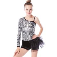 Best Beautiful Sequins Jazz Tap Costumes Diagonal - Neck Biketard Dance Costume wholesale