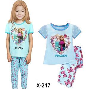 China Blue Girl Frozen Summer Pajamas Set x-247 on sale