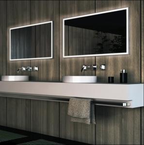 framelss LED bathroom mirror, square lighted bathroom mirror