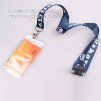 China Customized printed nylon lanyard with vertical plastic badge on sale
