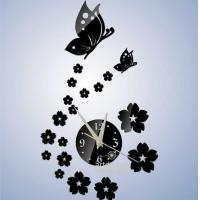 China Unique Gift The Butterfly and Flowers Design 3D Best Home Decoration Mirror Wall on sale