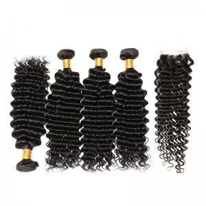 China Natural Black 100% Brazilian Virgin Hair / Deep Curly Human Hair Bundles on sale