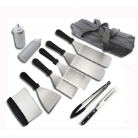 China Professional Griddle Accessories Cooking Kit 11PCS In Rollbag set for BBQ Kitchen Outdoor  tool on sale