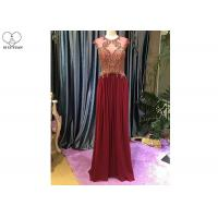 China Maroon A Line Lace Prom Dress Sleeveless Top Lace Heavy Beading Sweep Train on sale