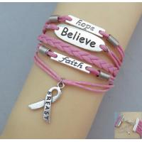 China Unique Awareness Breast Cancer Pink Bracelet / Bangle With Debossed Logo on sale