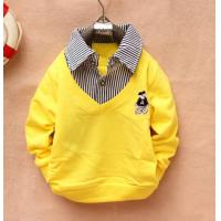 China Yellow Cotton Childrens Clothes , Autume Chlidren Long Sleeve T Shirt on sale