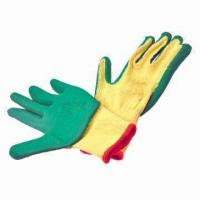 Best 10S yellow T/C cotton gloves, green latex coating, crinkle finish wholesale
