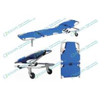 Best 186 * 51 * 25cm Hospitals Sports Foldaway stretcher with two castors and safety belts wholesale