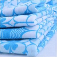 Best Rusha Textile  White And Blue Flower Patterned Baby Printed Jersey Knit Fabric wholesale