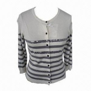 China Women's stripe cardigan, made of nylon on sale