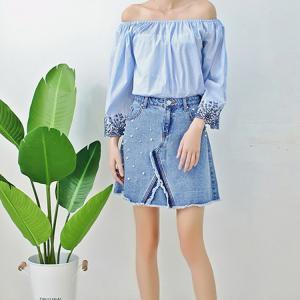 Best Young Ladies Short Denim Mini Skirt With Pearls , Women's A Line Denim Skirt wholesale