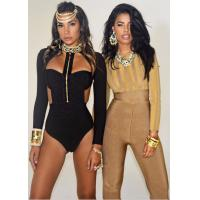 China Womens Black Long Sleeve Bodysuit , Long Sleeve One Piece Jumpsuits Front Zipper on sale