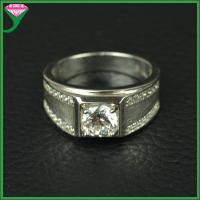 China White round cubic zirconia stone synthetic diamond 925 sterling silver antique Ring on sale