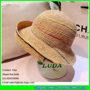 China LDMZ-006 natural raffia straw crochet women beach hats on sale