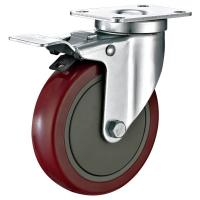 "Best 5""X1-1/4"" Industrial Trolley PU Caster Wheel With Total Locking Brakes Heavy Duty wholesale"