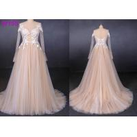 Best Long See Through Lace A Line Tulle Female Wedding Dress With Pearls Beading wholesale