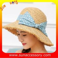 Best AK17540  fashion Wide brim sunny beach paper straw hats for womens in stock , promotion cheap hats . wholesale