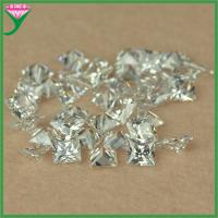 Best AAA 5*5mm white square shape synthetic cubic zircon rough stone wholesale