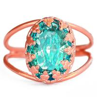 Best Matt Gold Plated Green Glass Party Fashion Jewelry Rings Big Main Stone wholesale
