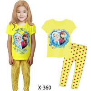 China Yellow Girl Frozen Summer Pajamas Set Clothes set X-360 on sale