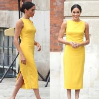 Buy cheap 2018 Women Elegant Brief Dress Chic Harry Princess Megan High Quality Yellow from wholesalers